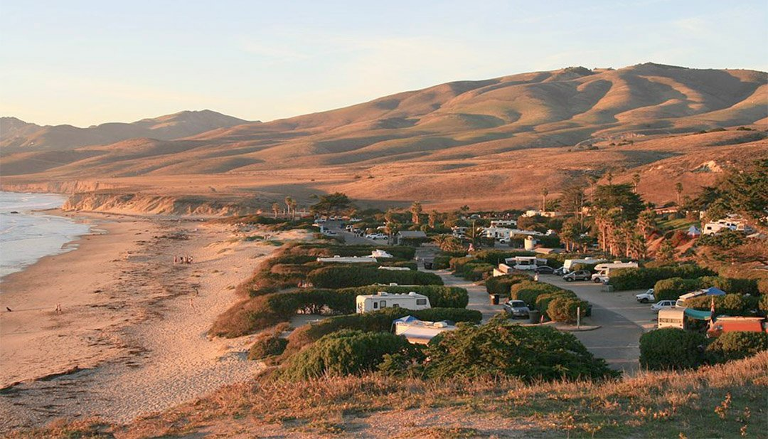 RVs in state park on the California coastline