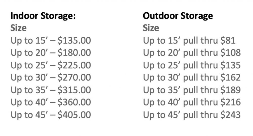 list of storage price comparisons indoor and outdoor rates