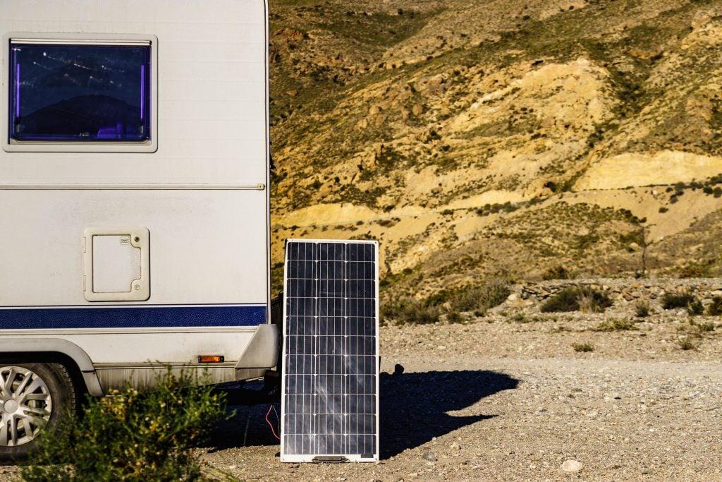 solar panels leaned against RV