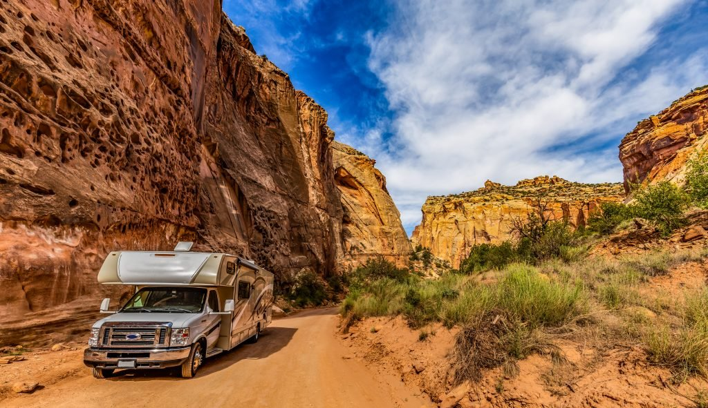 RV camping in Utah with Class C motorhome.