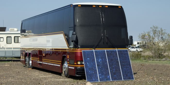 Solar panels used in the desert to provide electricity for a recreational vehicle - RV parts and accessories.