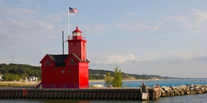 red lighthouse in Michigan