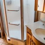 RV bathroom with several RV upgrades