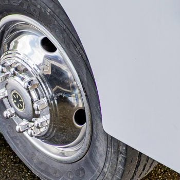 Front tire of a motorhome. RV, wheel