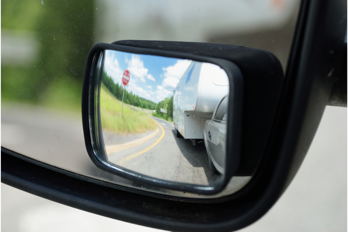 Towing mirror showing truck and trailer - RV towing