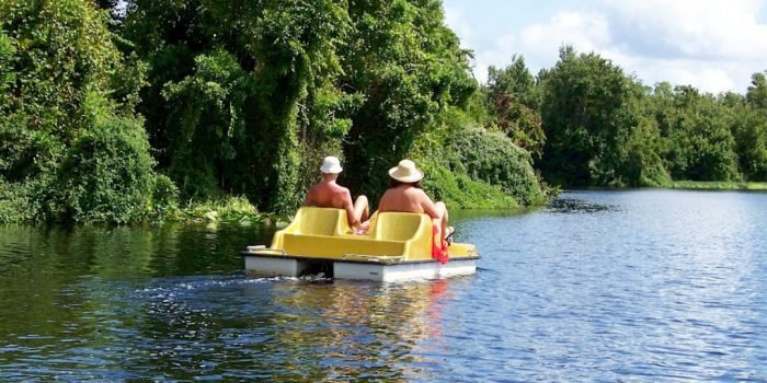 nude campers on paddle boat