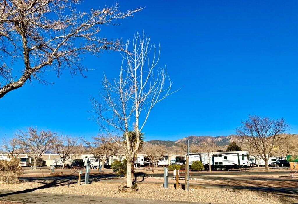 Albuquerque RV park with desert view