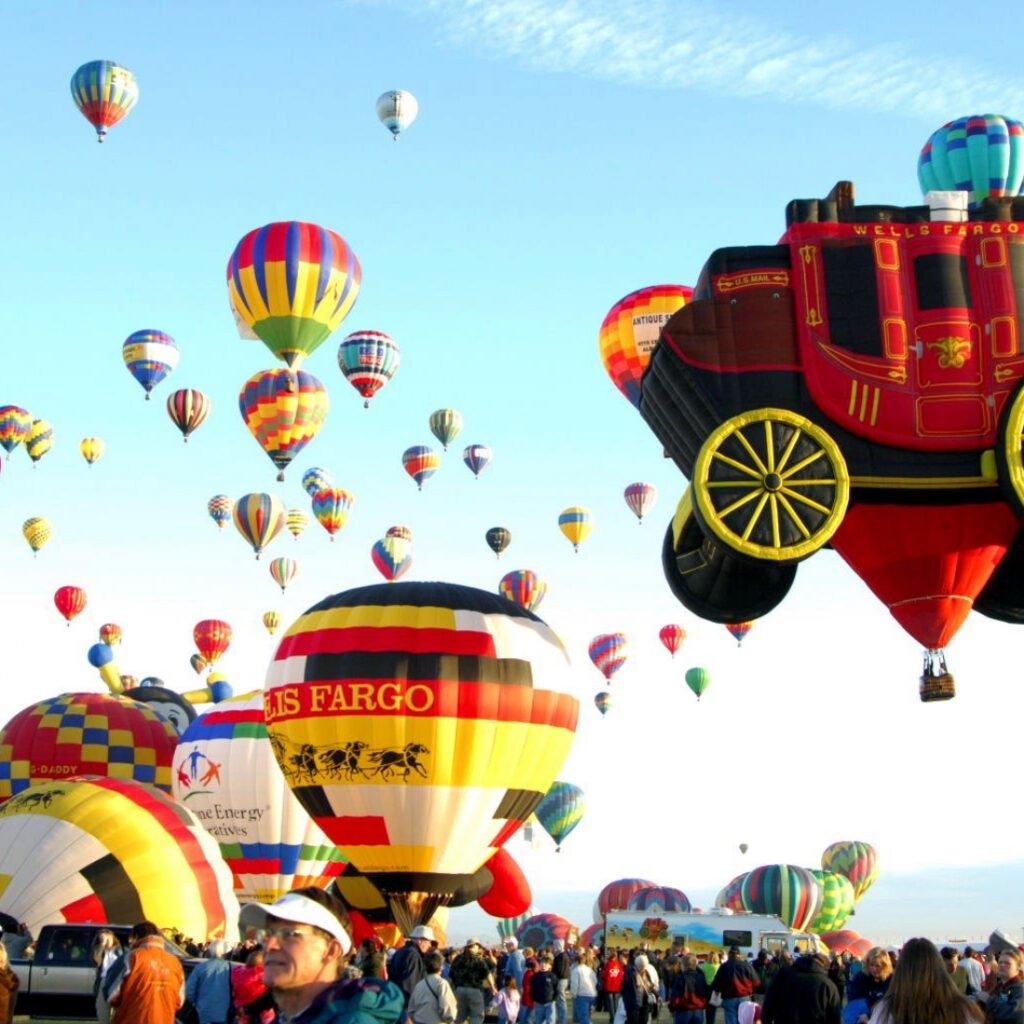 view of Balloon Fiesta in Albuquerque