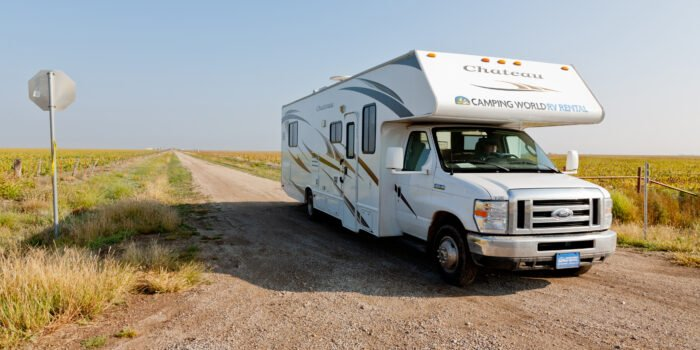 RV parked on road in Texas near Route 66 campgrounds