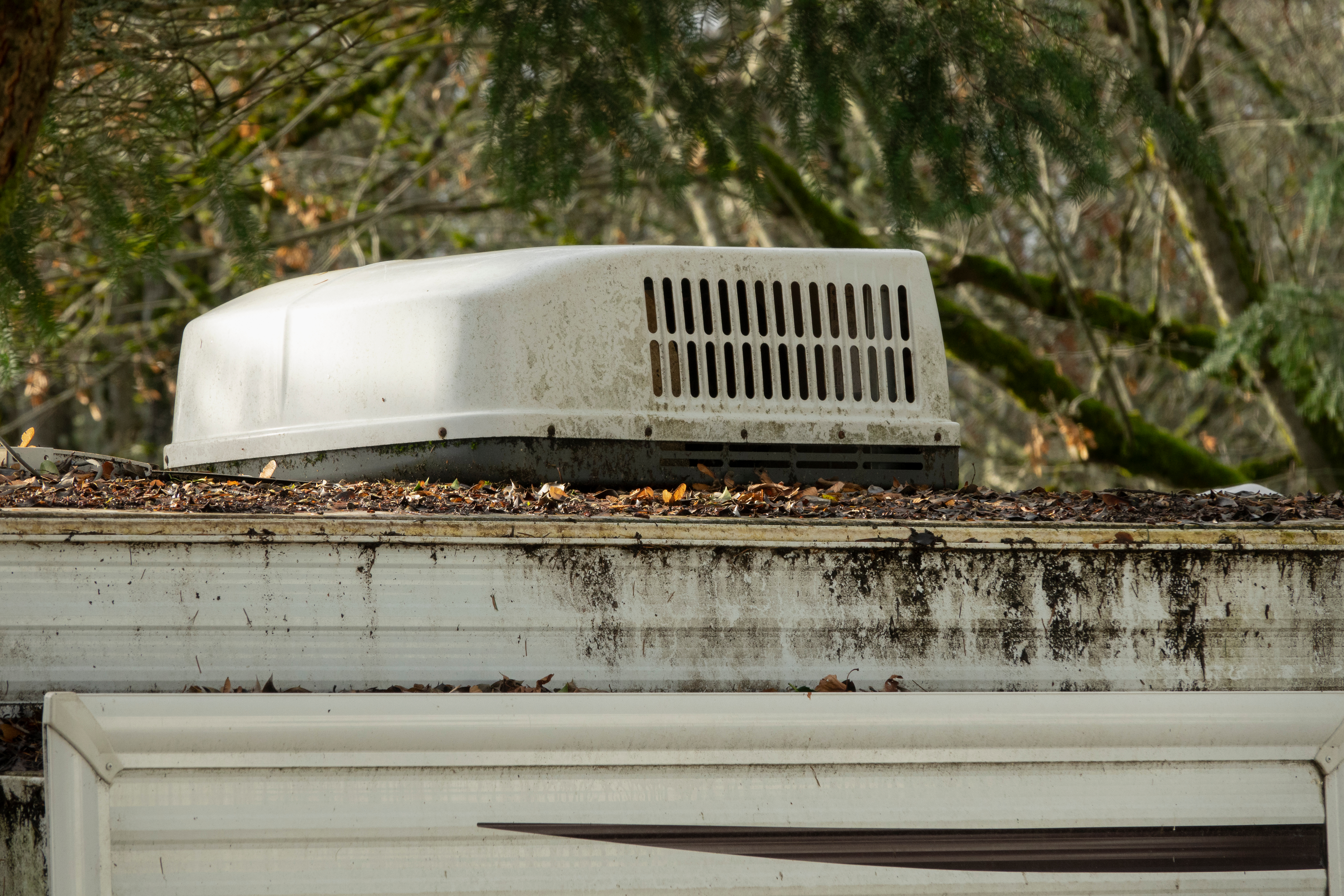 RV air conditioner covered in sap and leaves - RV air conditioner cover