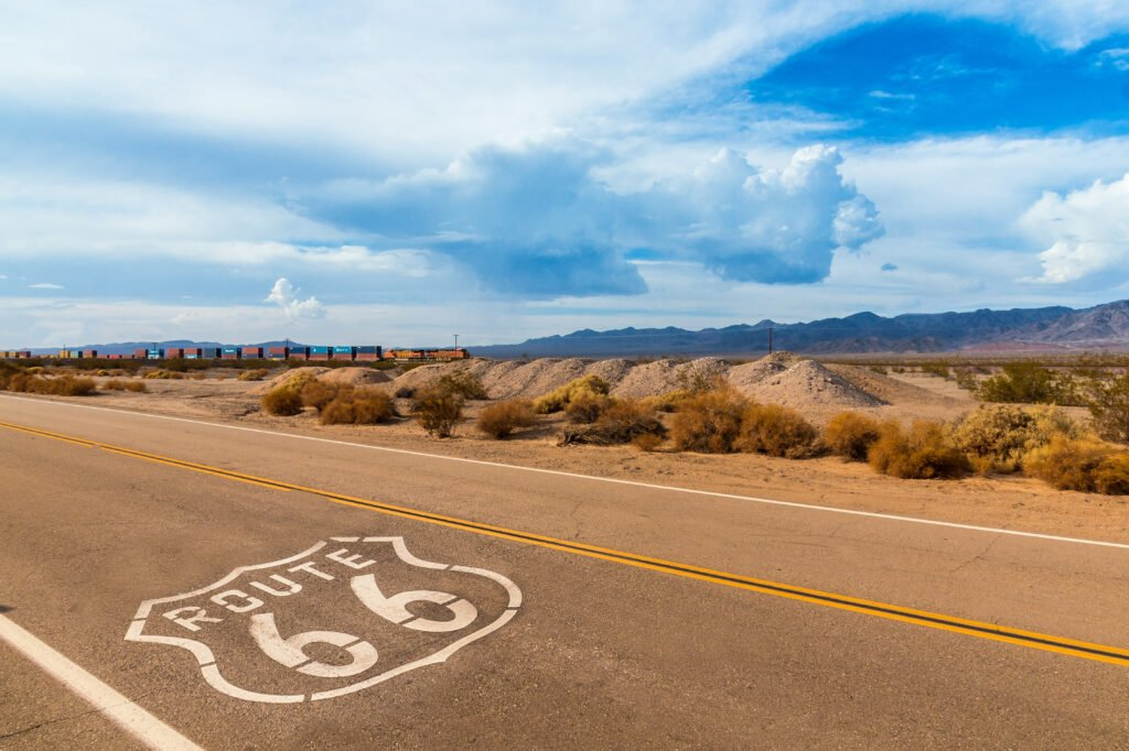 route 66 road with desert view
