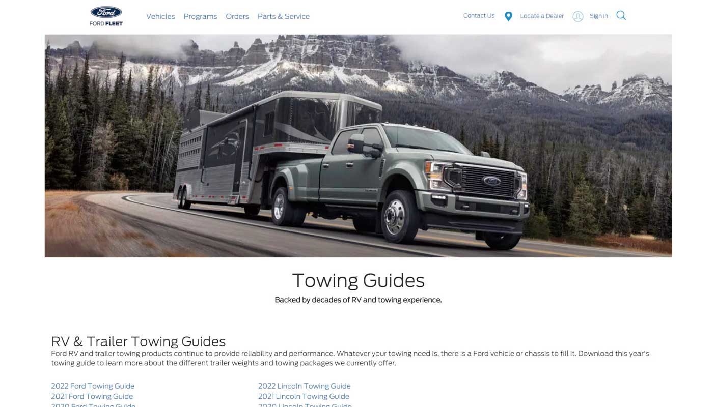 Screenshot of website for Ford towing guides