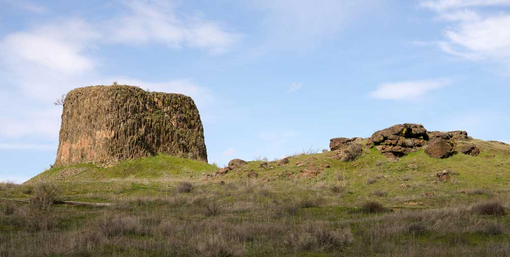Hat Rock is 70 feet high and made of exposed basalt