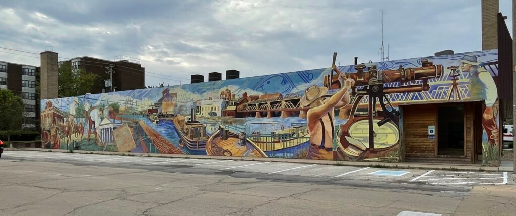 another mural depicting the building of the I&M Canal - RV camping near Ottawa