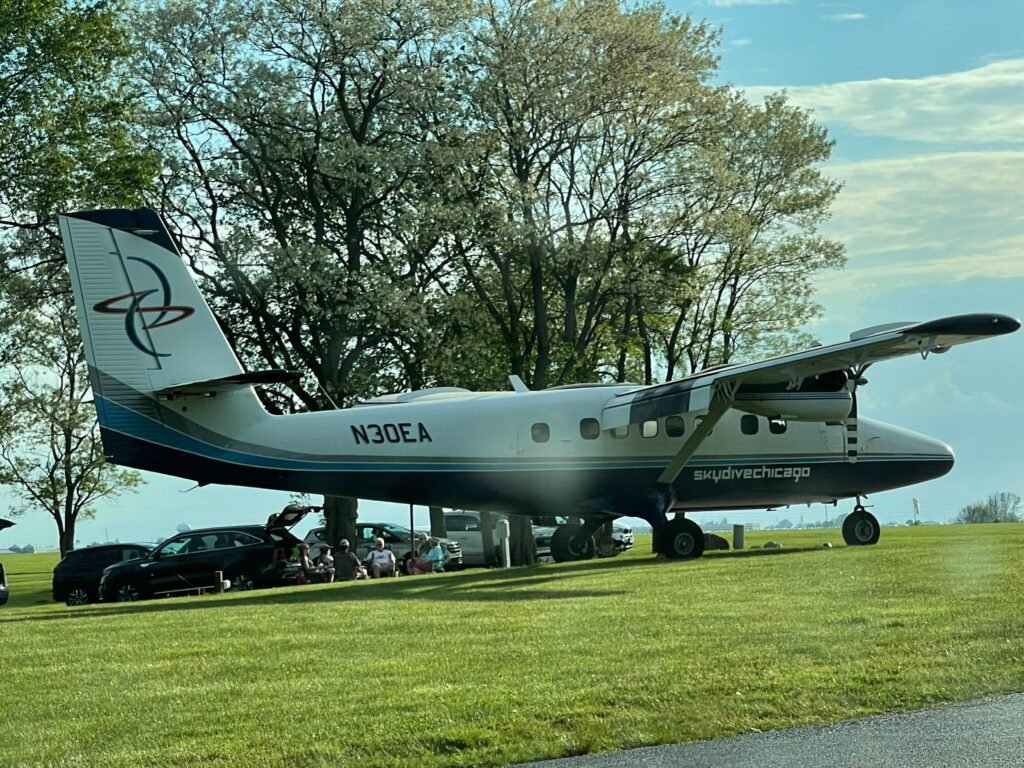 A plane used to take skydivers on a one way trip to jump height - RV camping near Ottawa