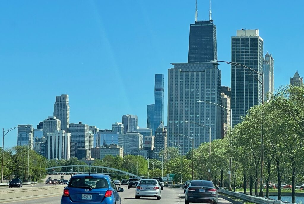 skyline of Chicago while driving along lakeshore drive