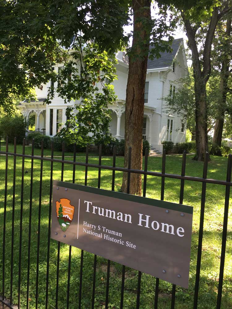 exterior of President Harry S Truman's two-story home in Missouri