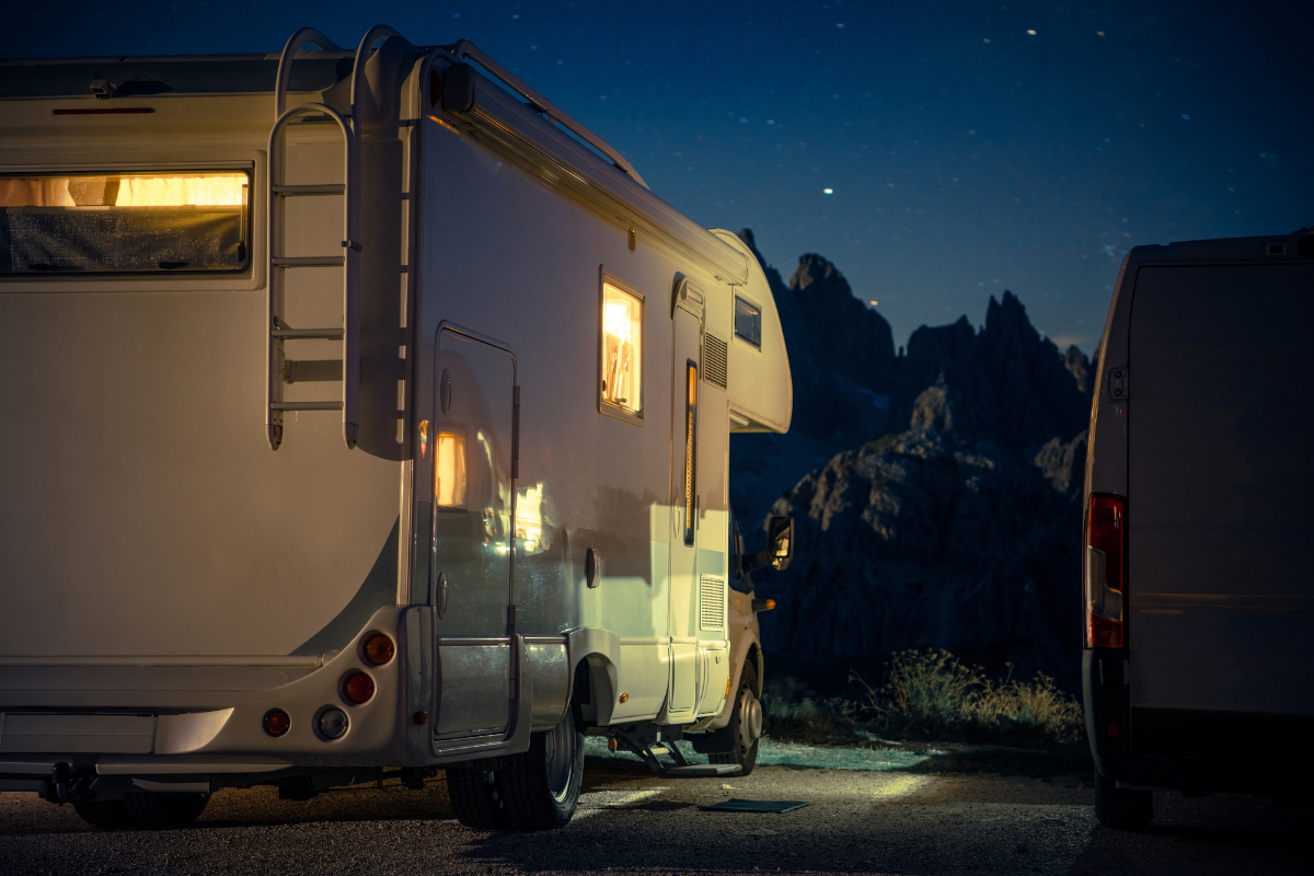 RV parked at night time with interior light on - RV theft