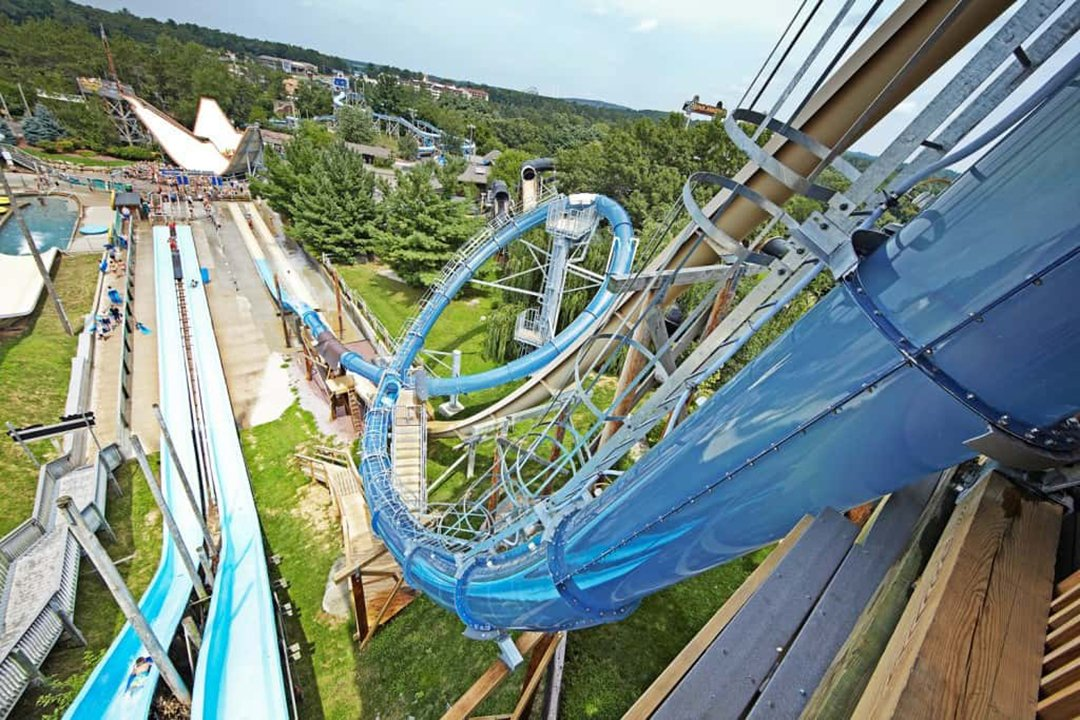 View from the top of a tube waterslide