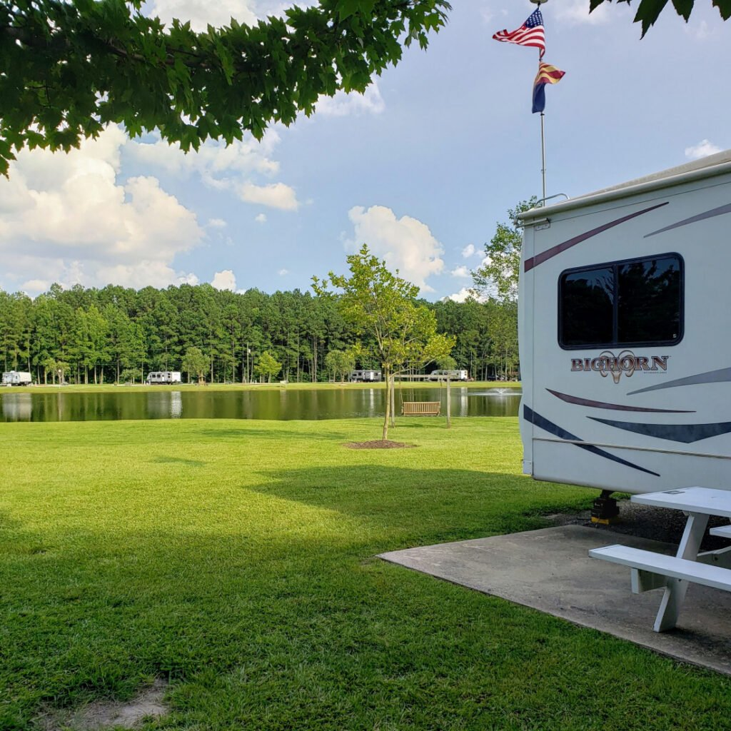 RV park in North Carolina - view of the river