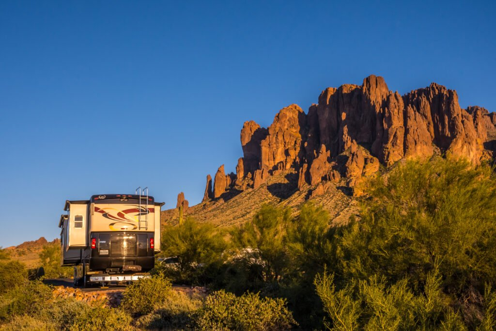 Class A motorhome in front of Arizona view