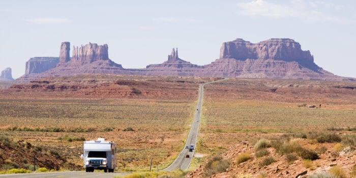 motorhome driving on Utah road