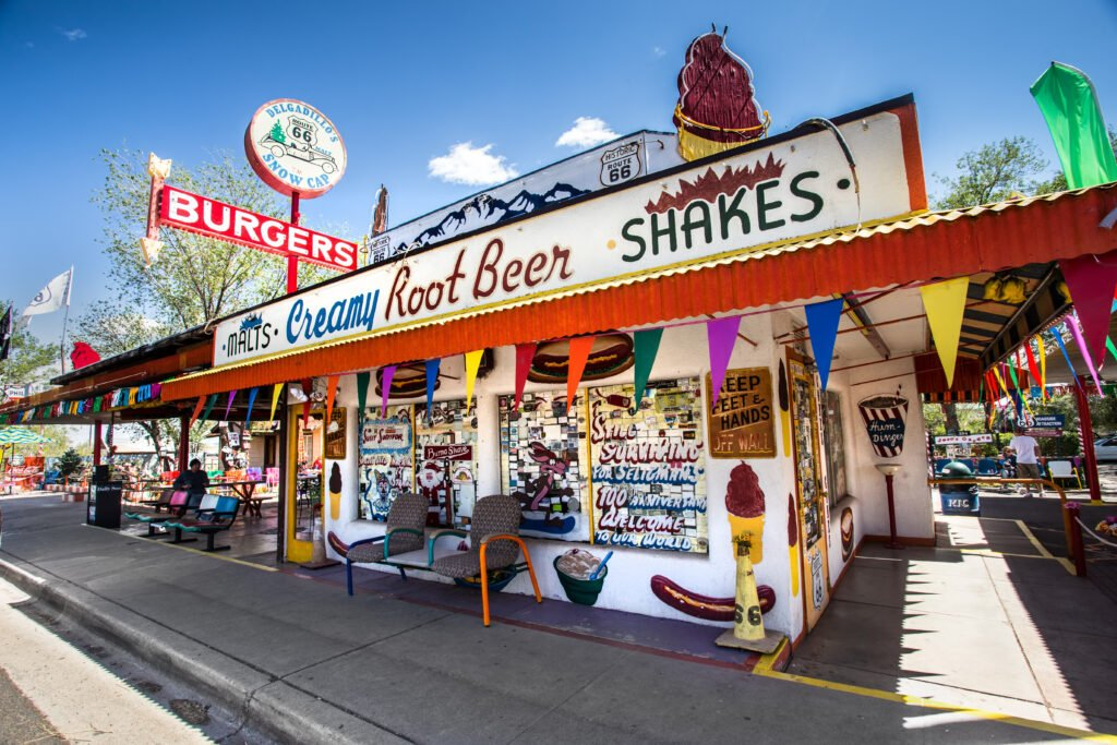 Delgadillo's Snow Cap Drive-in eatery and roadside attraction located along Route 66 in Seligman, Arizona.