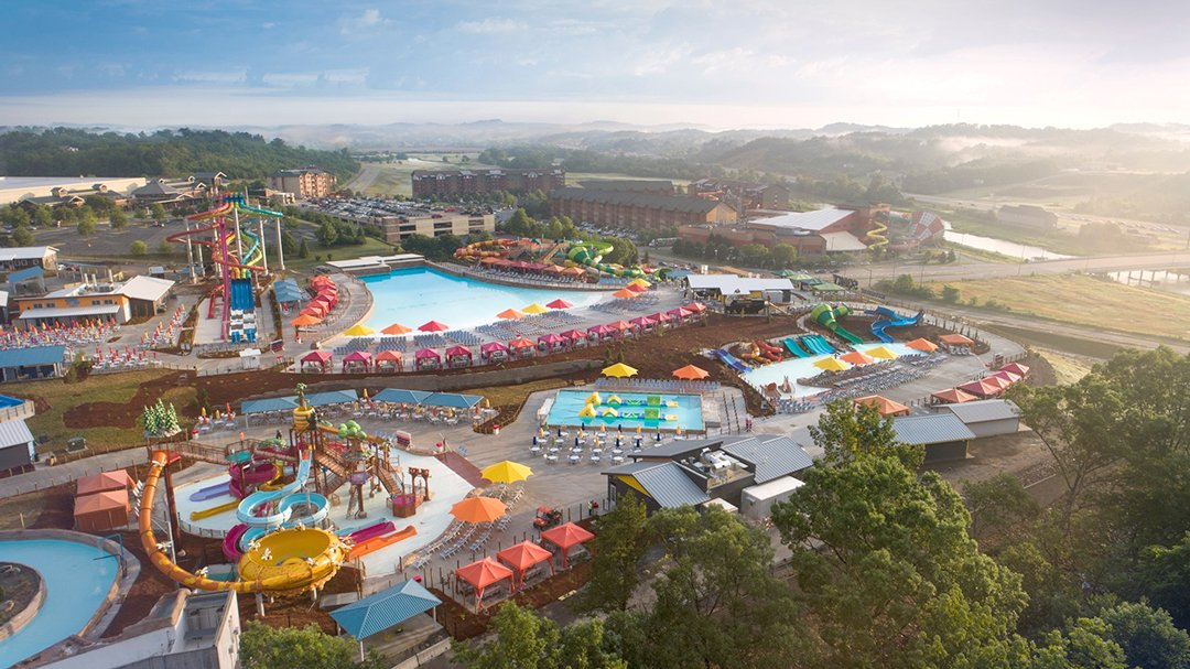 Aerial view of Soaky Mountain water parks in Tennessee