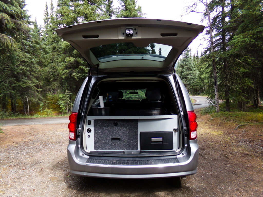 back of Alaska camper van rental