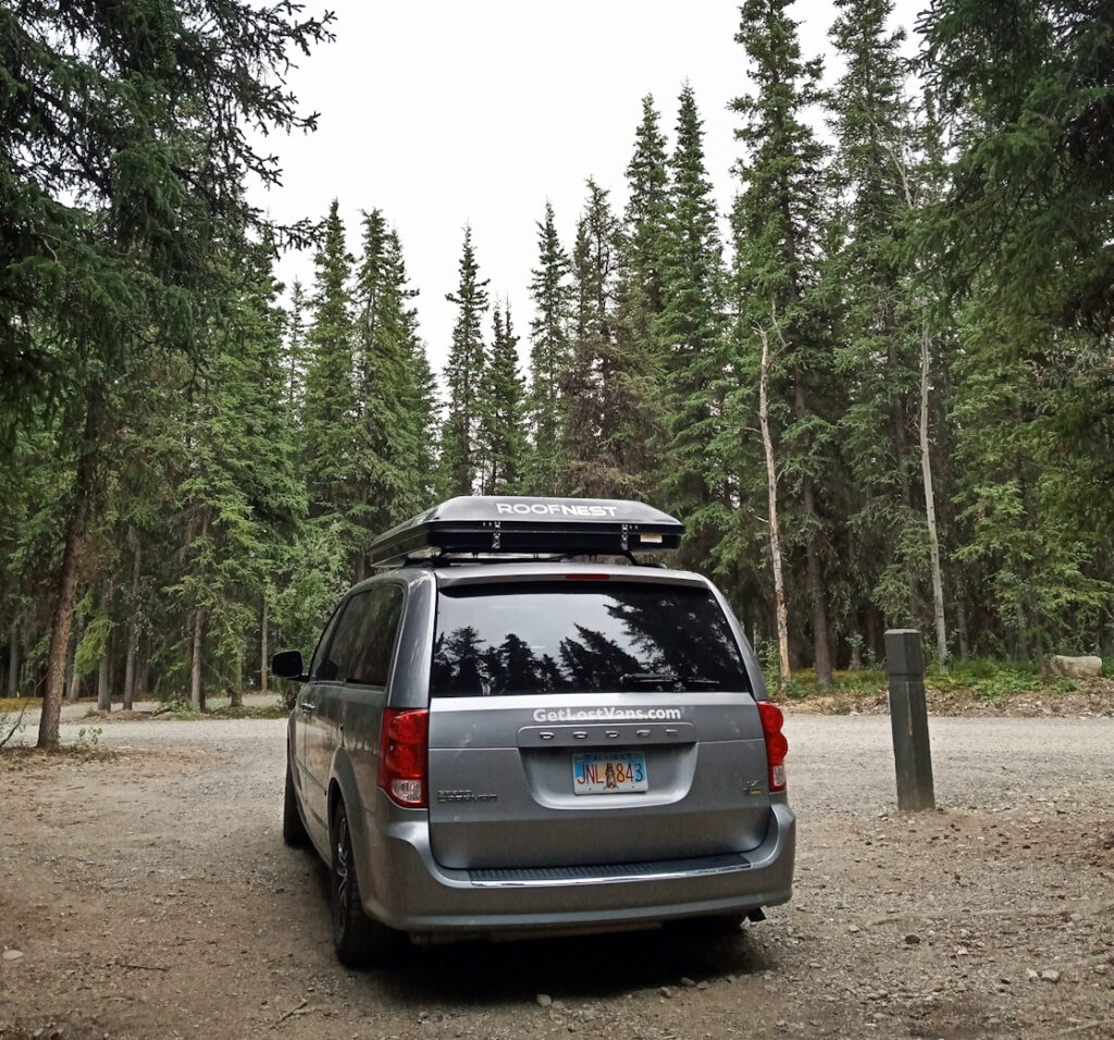 Alaska camper van rental in the woods