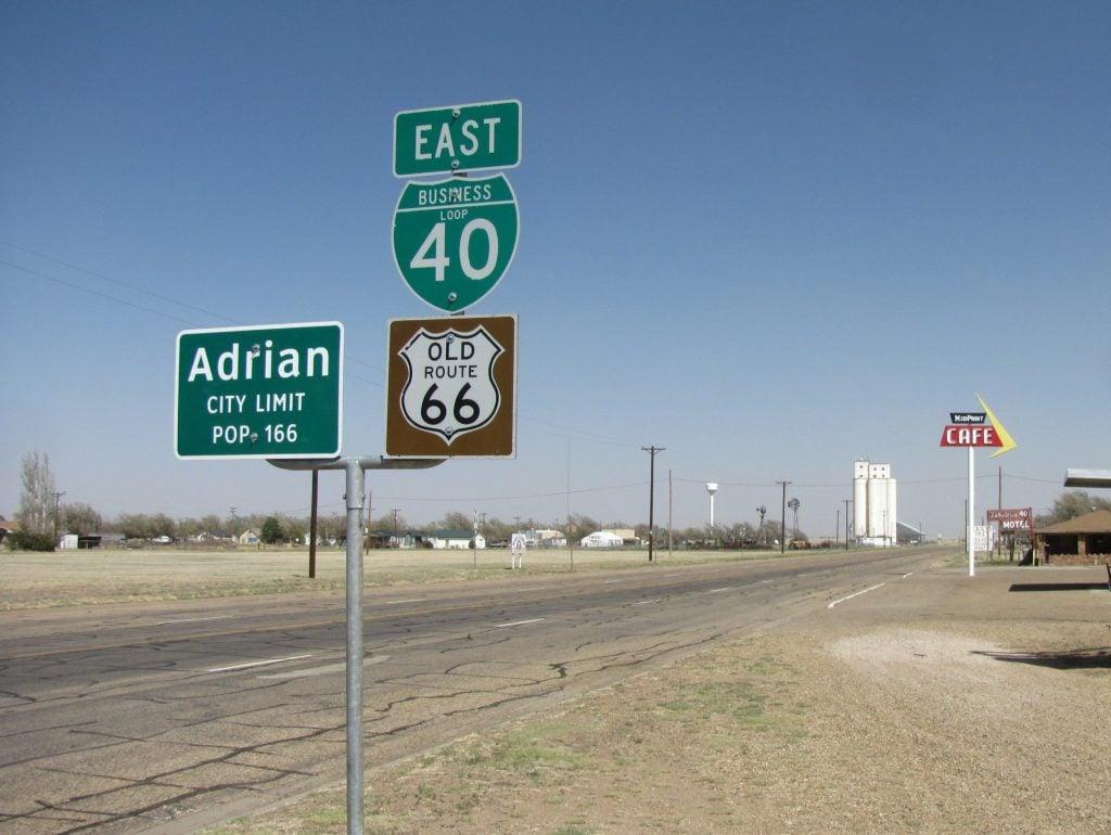road signs near Adrian, TX