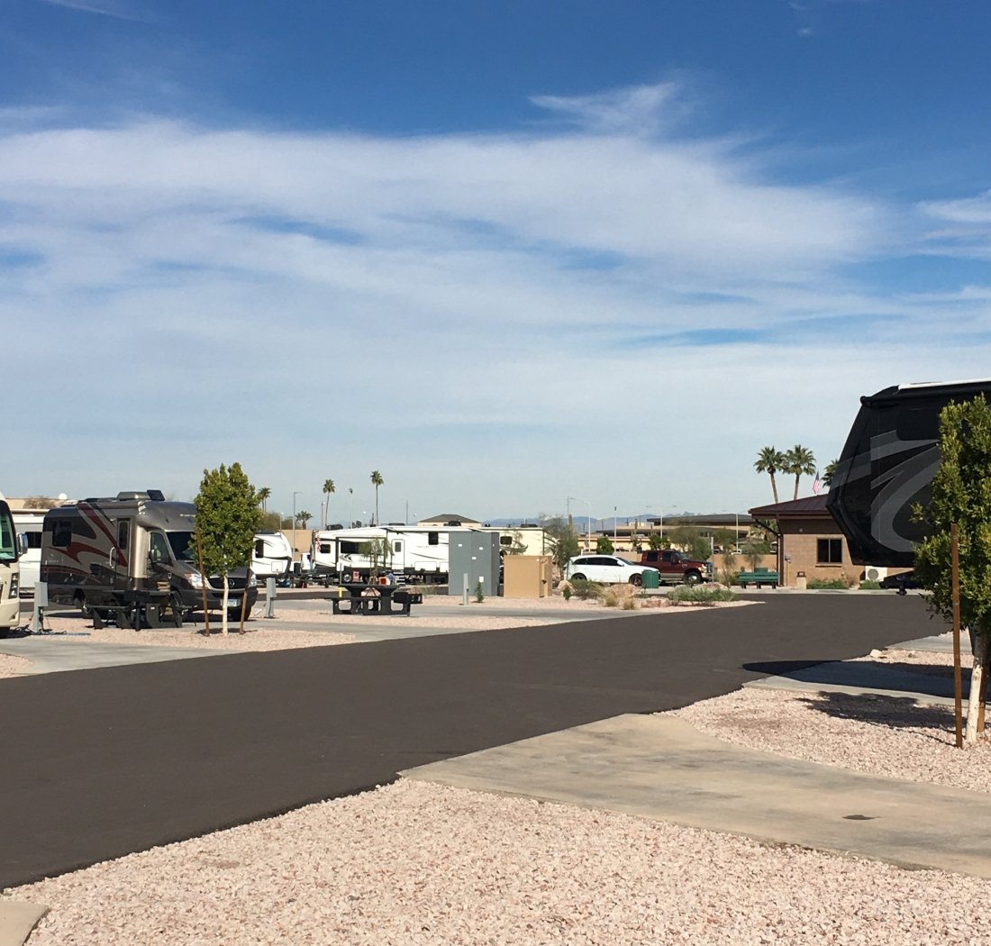 RV Park with mountains in the background - US military campgrounds and RV parks