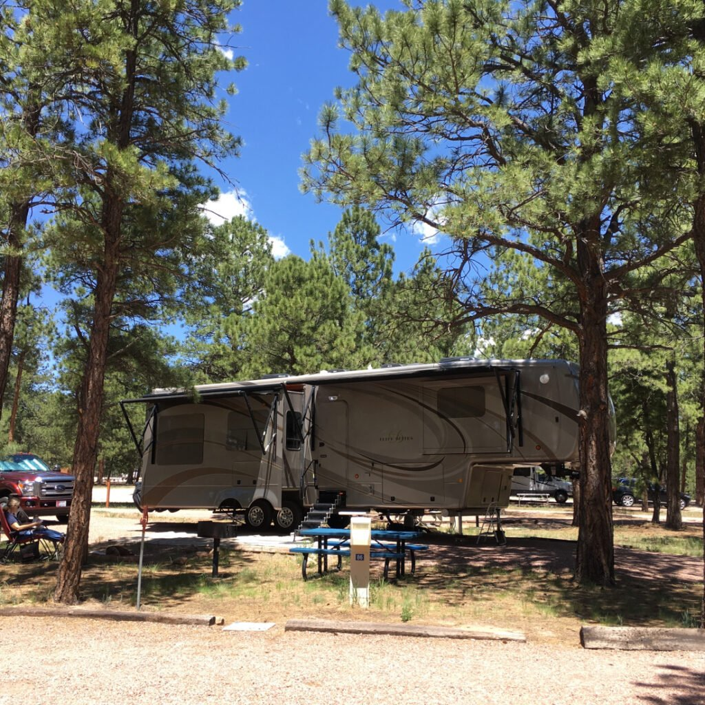 RV at Peregrine Pines FamCamp - one of our top US military campgrounds and RV parks
