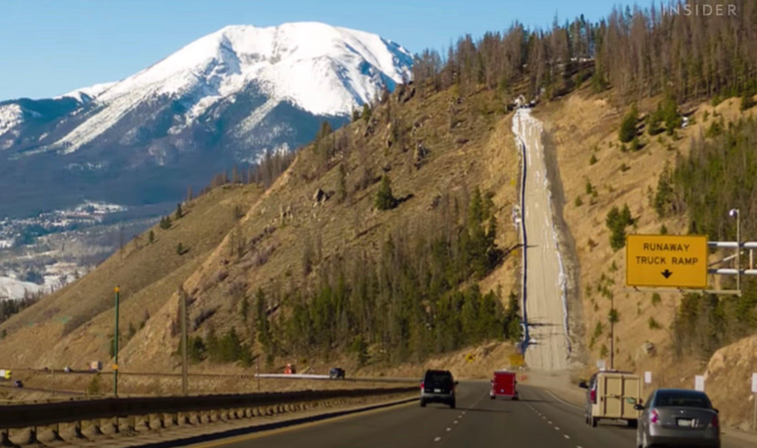 Runaway ramp on steep mountain road - runaway ramp