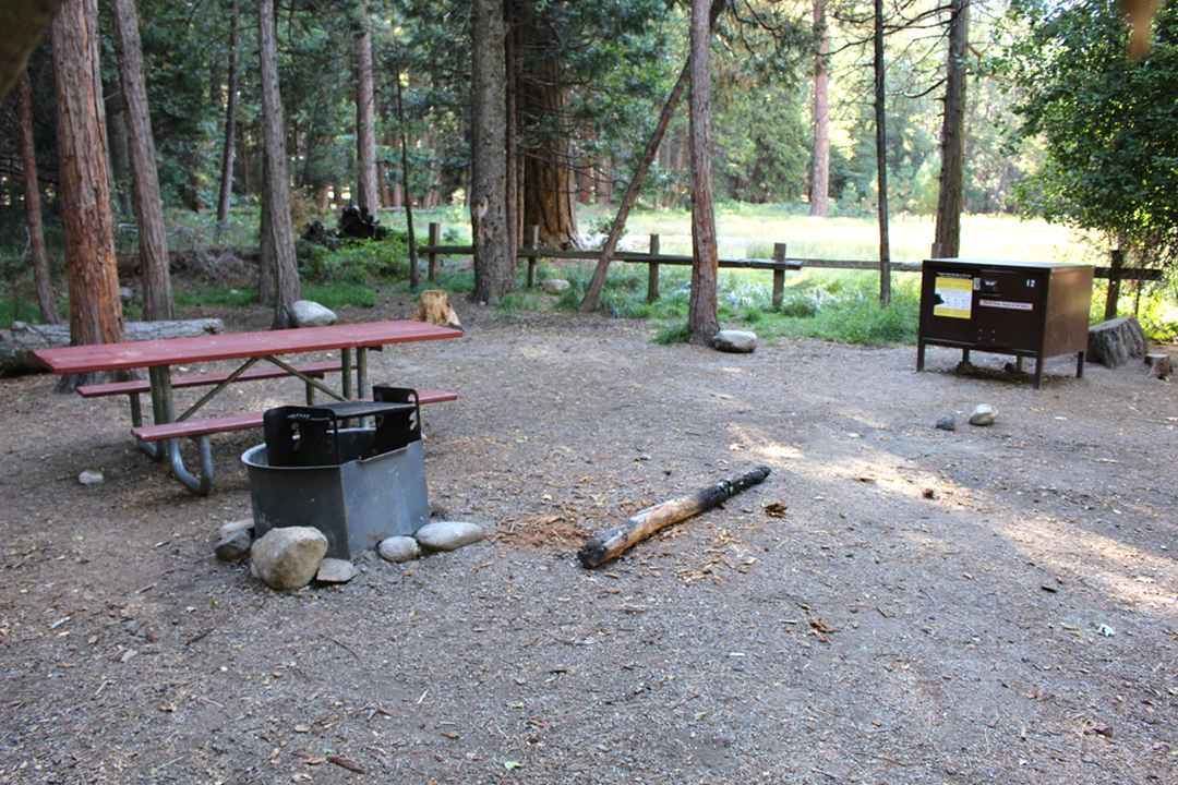 Campsite with firepit and picnic table in Sequoia & Kings Canyon