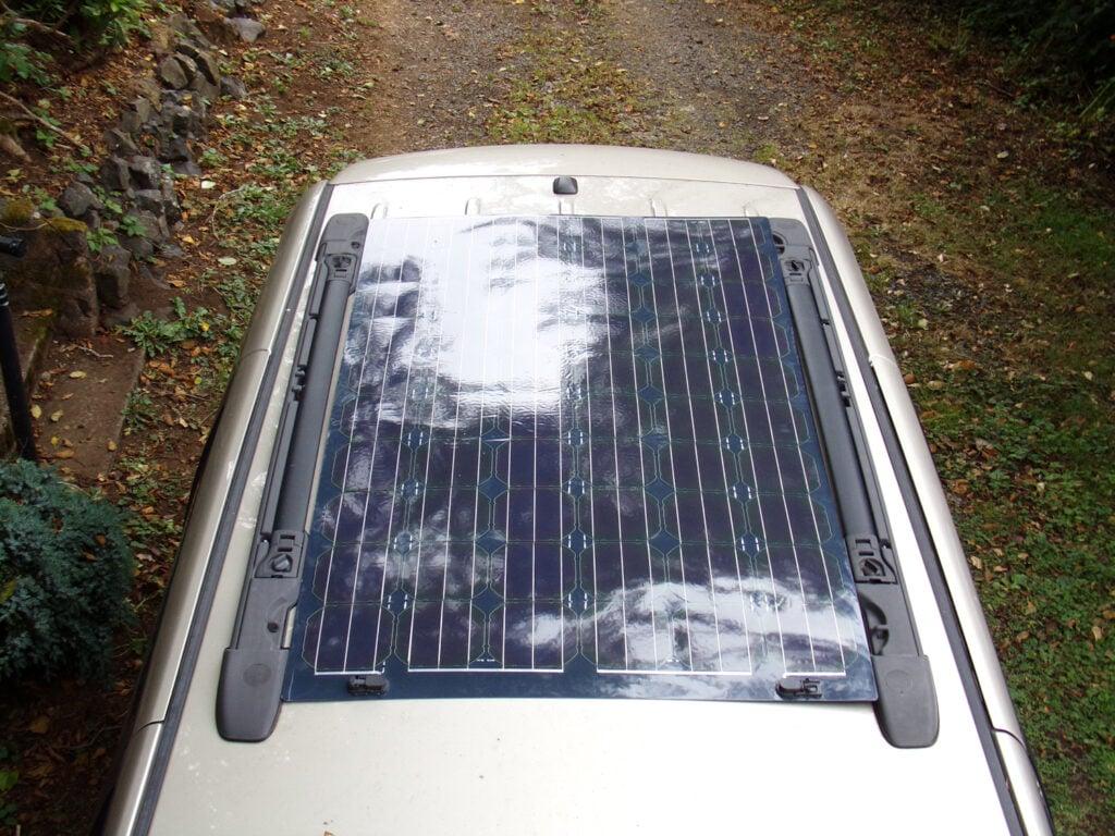 RV solar panel on roof of minivan