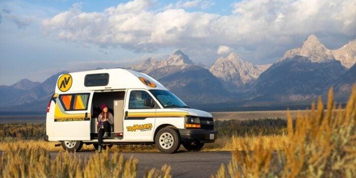 camper van rental in front of mountain view