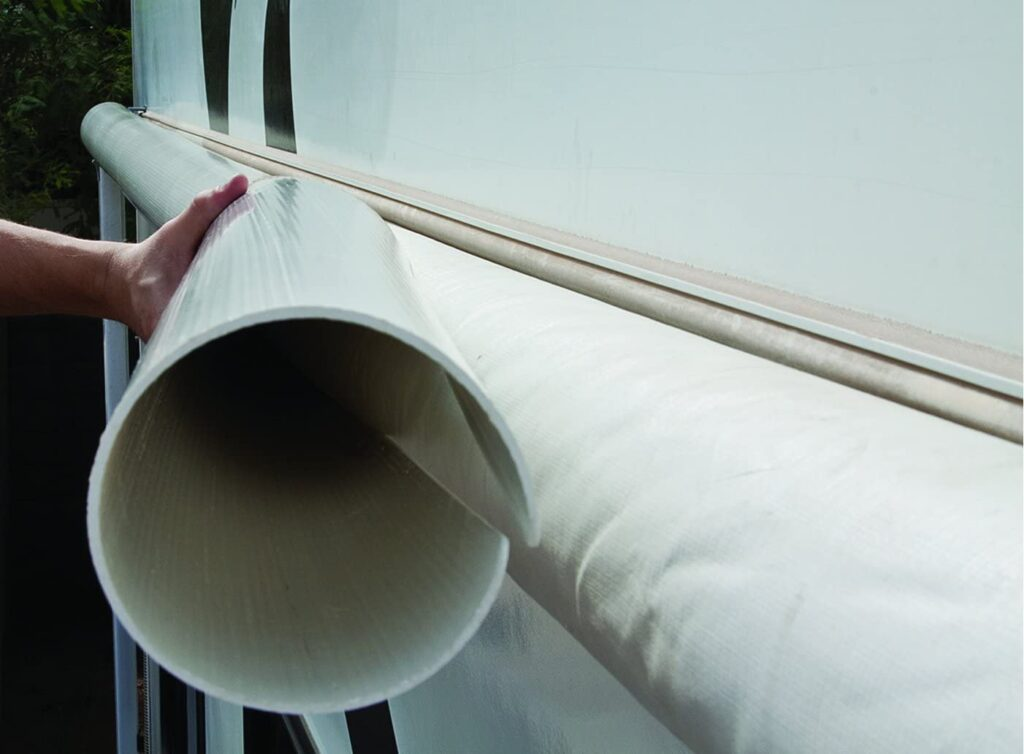 white RV awning protector covering white RV awning