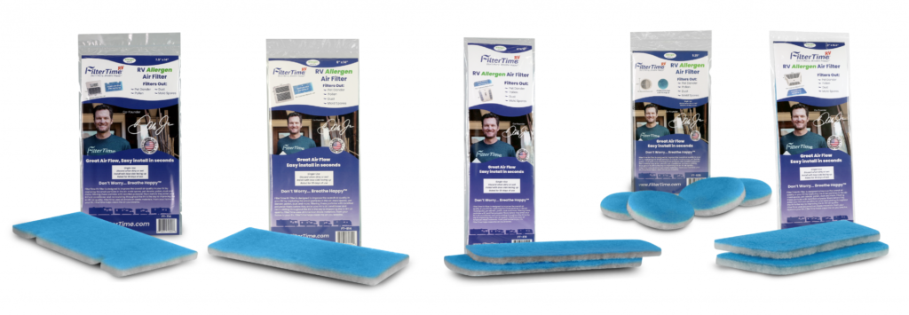 RV air filters from FilterTime lined up in product display format.