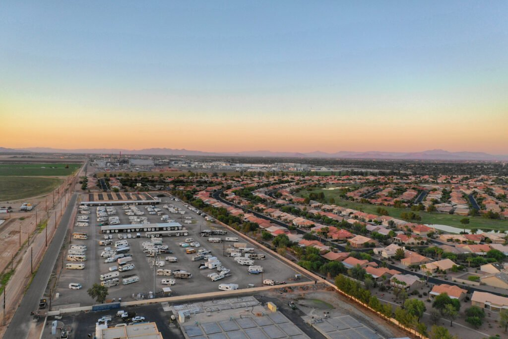Arial view above an RV storage lot
