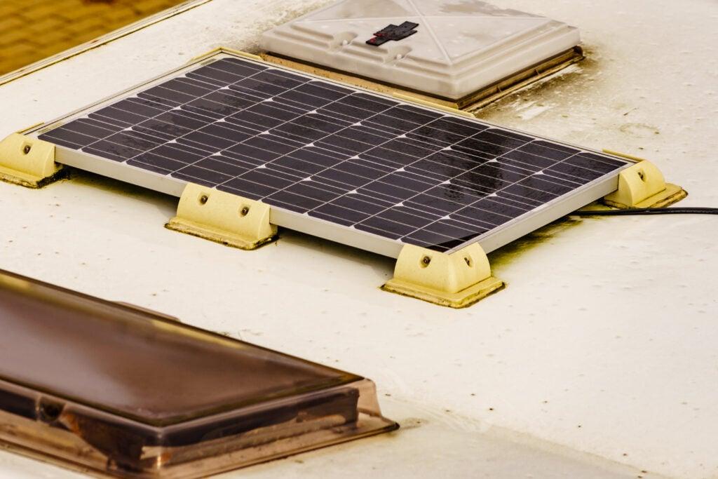 Solar panel installed on RV roof.