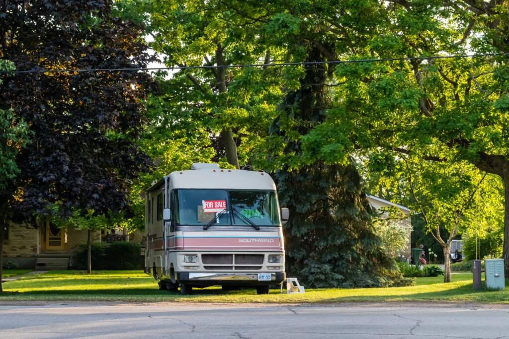 RV for sale on side of the road