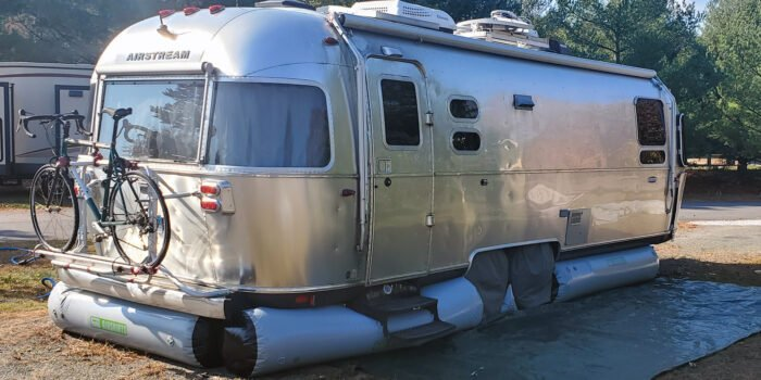 RV skirting on an Airstream trailer
