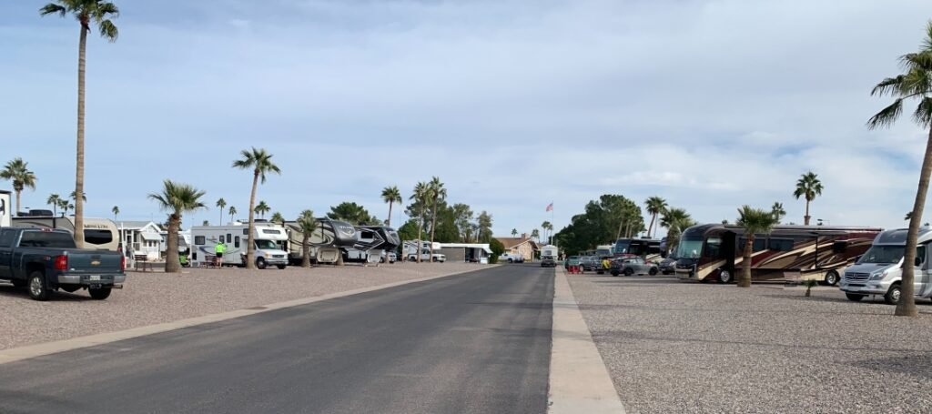 paved road with RV sites on both sides