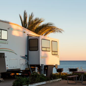 a motorhome with ocean view - living in an RV full time in a park