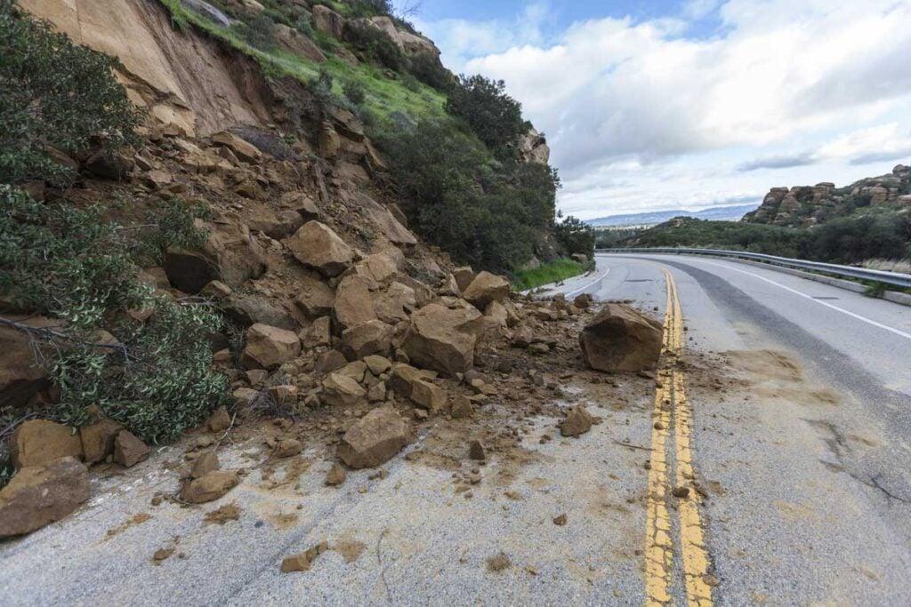 rock slide on road in California