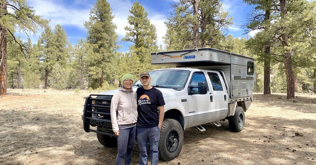 full time RV living YouTube stars Joe and Kait with their truck camper