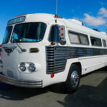 white and chrome 1951 Flxible Bus motorhome